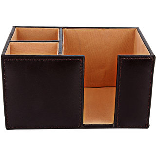ZINT Pure Leather Coffee Color Pen Stand/Holder-cum-Paper Slip Holder Office Organizer Desk Accessory
