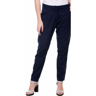 Kotty Regular Fit Women's Linen Dark Blue Trousers