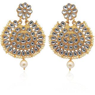 JewelMaze White Kundan Gold Plated Dangler Earrings-1312914B
