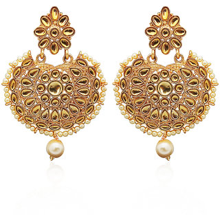JewelMaze Gold Plated Brown Kundan Dangler Earrings-1312915A