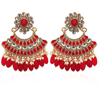 JewelMaze Red Stone And Kundan Dangler Earrings-1312916A