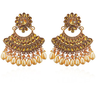 JewelMaze Brown Kundan And Pearl Dangler Earrings-1312916B