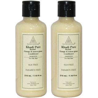 Khadi Pure Herbal Orange Lemongrass Hair Conditioner SLS-Paraben Free - 210ml (Set of 2)