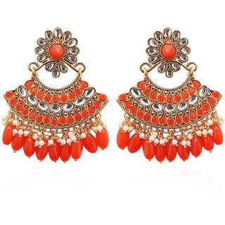 JewelMaze Orange Stone And Kundan Dangler Earrings-1312916D