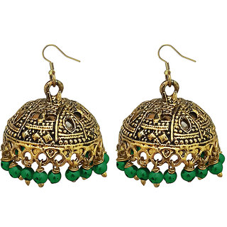 JewelMaze Green Beads Antique Gold Plated Jhumki Earrings -1309340E