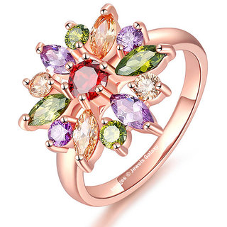 Jewels Galaxy Crystal Elements Exclusive Limited Edition Floral Design 18K Rose Gold Stunning Ring For Women/Girls