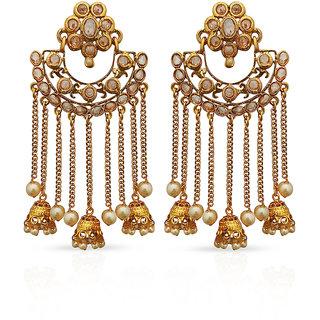 JewelMaze Gold Plated Austrian Stone Dangler Earrings -1312917A