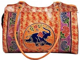Hand Tooled Painted Shantiniketan Genuine Leather Tribal Ethnic Boho Shoulder Bag Purse Handbag / Vintage Elephant Bag