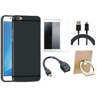 Leovo K4 Note Silicon Slim Fit Back Cover with Ring Stand Holder, Tempered Glass, OTG Cable and USB Cable