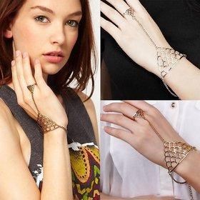 VeroniQ - Gold Jaali Cutwork Design Hand Chain Ring Bracelet - 1 Qty