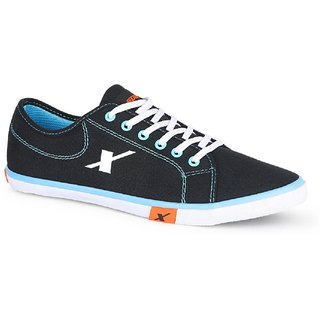 Sparx Men's Black & Sky Blue Lace-Up Sneakers