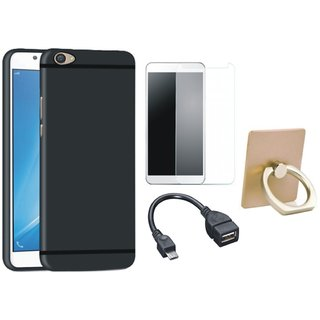 Leovo K5 Soft Silicon Slim Fit Back Cover with Ring Stand Holder, Tempered Glass and OTG Cable