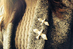 VeroniQ - Retro Style White Dove Brooch Both For Men and Women - 2 Qty
