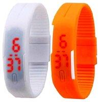 Pack Of 2 White And Orange LED Band Wrist Watch (UNISEX