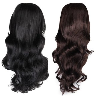 Buy PARAM Human Hair Women S Full Wigs Long Wavy Wig Black   Dark Brown  Online - Get 43% Off 2e95eb8bc