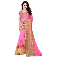 Maitri Creation Pink  Beige Faux Georgette Saree with Blouse (FL-6001)