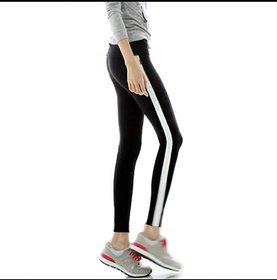Black Single Broad Stripe Stretchable Legging / Jegging / Gym Wear / Yoga Wear /Sport's Wear