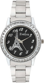 Evelyn Eiffel Tower Black Dial Analogue Metal Strap Wrist Watch For Girls - Women -Eve-566