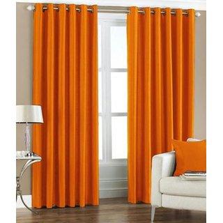 Tejashwi traders ORANGE crush DOOR curtains set of 2 (4x7)