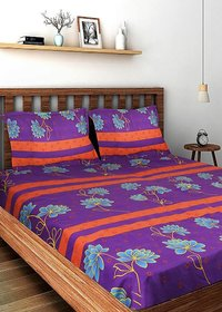 Bombay Dyeing Ivyrose Multicolor Double Bedsheet With 2