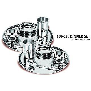 10 pcs chotu family stainless steel dinner set