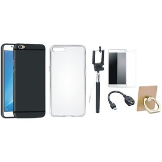 Moto G5 Stylish Back Cover with Ring Stand Holder, Free Selfie Stick, Tempered Glass and OTG Cable