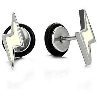 316l Steel Lightning White Filled Screw Silver Stud Earrings for Men/Women, 2pcs