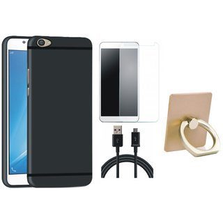 Leovo K5 Plus Silicon Anti Slip Back Cover with Ring Stand Holder, Tempered Glass and USB Cable