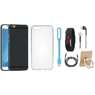 Moto G5s Cover with Ring Stand Holder, Silicon Back Cover, Digital Watch, Earphones, USB LED Light and AUX Cable