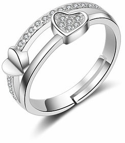 Style Stop Silver Sterling Silver Plated Silver Heart Shape Adjustable Ring For Women Girls With Ready To Gift Box