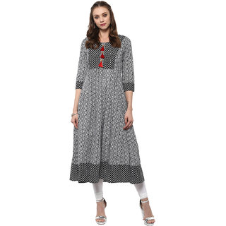 Meia Black Printed Cotton Stitched Kurti