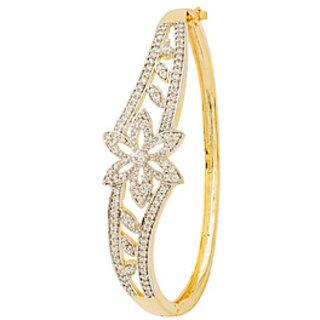 Voylla CZ Studded Sparkling Floral Cuff Bracelet For Beautiful Ladies