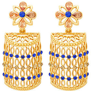 Voylla Designer Golden Earrings With Shiny Blue Stones