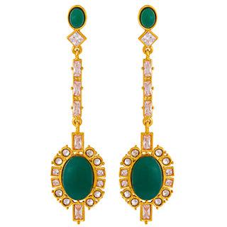 Voylla Green Stones Studded Stylish Dangler Earrings For Women