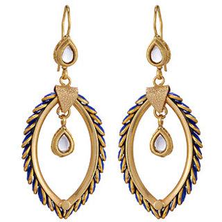 Voylla Leaf Design Pacchi Inspired Danglers Earrings