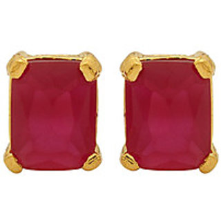 Voylla Yellow Gold Red Stone Earrings