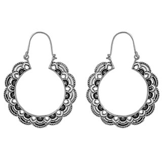 Voylla Eye-Catching Oxidised Silver Hoop Earrings