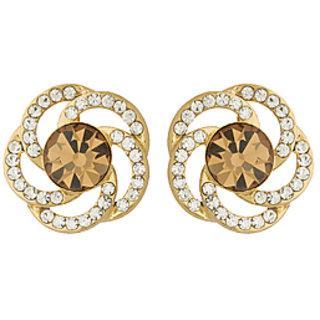 Voylla Floral CZ Embellished Stud Earrings