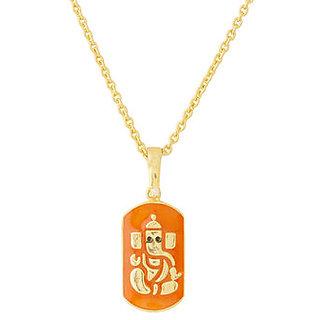 Voylla Enamel Ganesh Motif Pendant With Chain