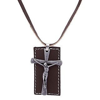 Voylla Cross With Christ Pendant With Brown Chain