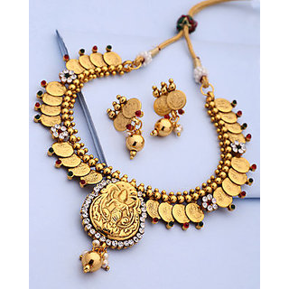 Voylla Designer Coin Necklace With Matching Drop Earrings