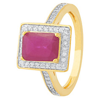 Voylla Contemporary Gold Plated Cubic Zirconia Gold Ring Fo Women