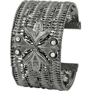 Asmitta Jewellery Rhodium Plated Black Zinc Kadas For Women