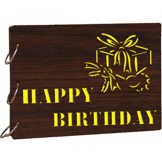 6c9f93bef09 Studio Shubham wooden Happy Birthday brown photo album(30cmx22cmx4cm)