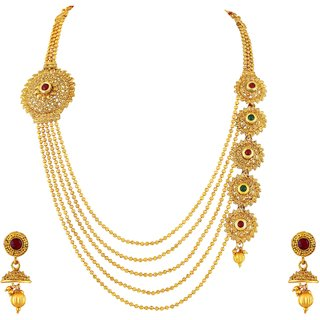 Asmitta Jewellery Gold Plated Wedding Necklace set for women