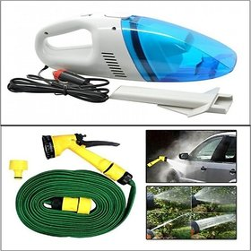 Combo Of - Car Heavy Duty Vacuum Cleaner + Car Cleaning Water Spray Hose Gun