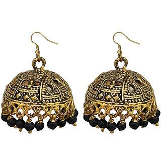 JewelMaze Black Beads Antique Gold Plated Jhumki Earrings -1309340G