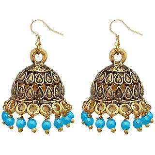 JewelMaze Blue Beads Antique Gold Plated Jhumki Earrings -1309341C