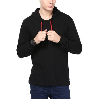 Jangoboy Solid Men's Hooded Black T-Shirt