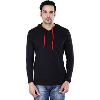 Jangoboy Solid Men's Hooded Black T-Shirt